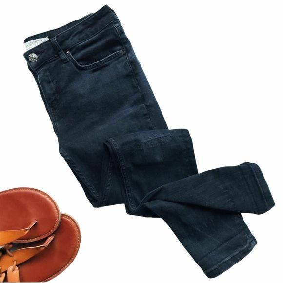 Zara Women Distressed Skinny Jeans Black Denim 4